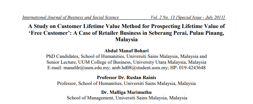 A Study on Customer Lifetime Value Method for Prospecting Lifetime Value2