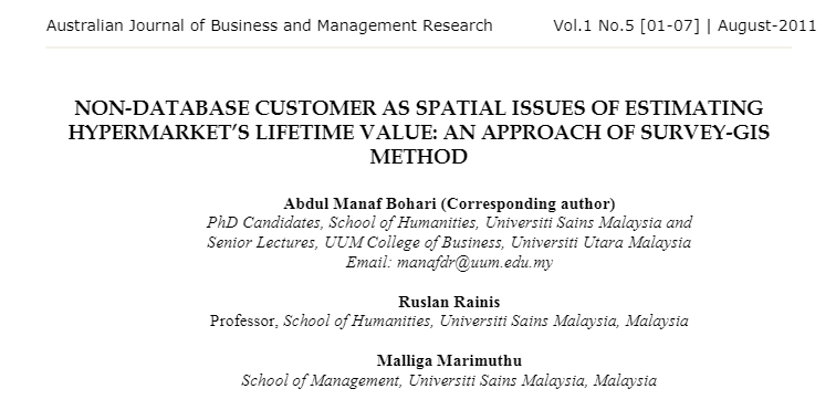 NON-DATABASE CUSTOMER AS SPATIAL ISSUES OF ESTIMATING HYPERMARKET'S LIFETIME VALUE - AN APPROACH OF SURVEY-GIS METHOD